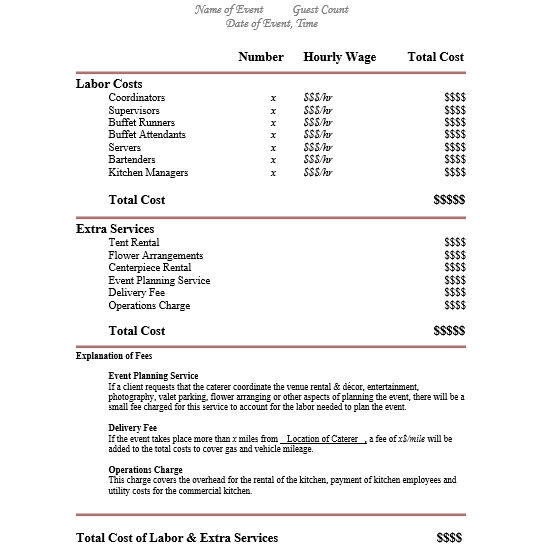 Catering Proposal Quote Template Social Mobile Insider – Catering Quote Template
